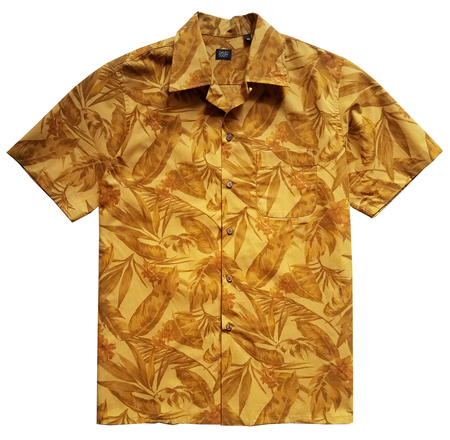 David Hart MUSTARD LEAF PRINT CAMP SHIRT