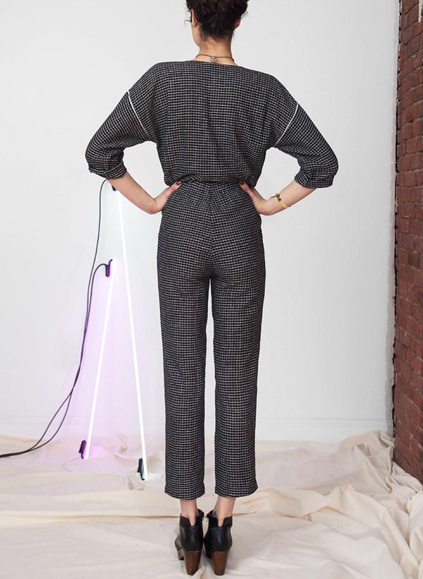 Seek Collective Rilke romper   black grid weave