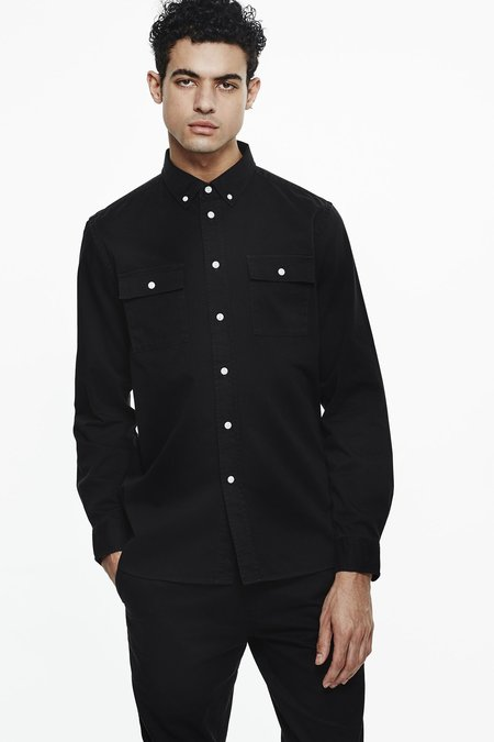 Saturdays Surf NYC Angus Broken Twill Shirt - Black