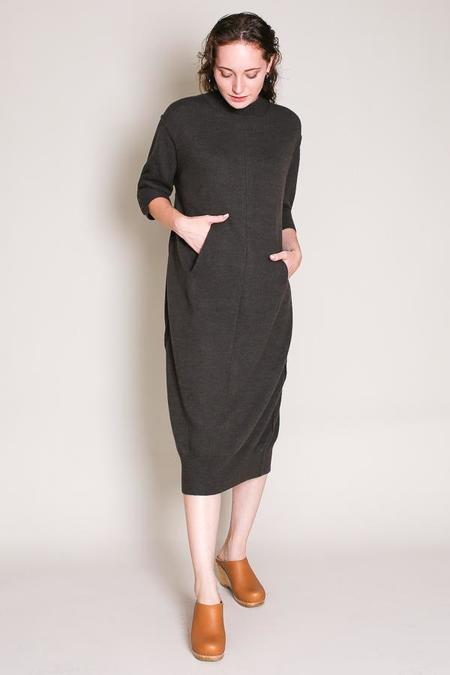Sayaka Davis Button back knit dress in khaki gray
