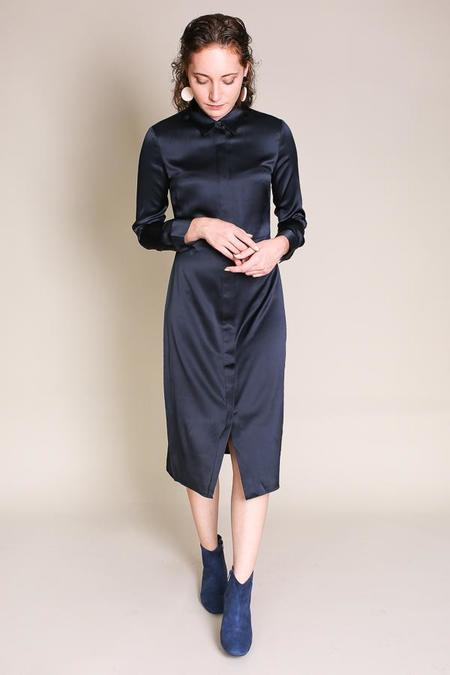 Jenni Kayne Satin Shirt Dress In Navy