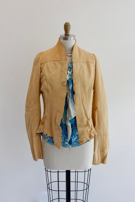 Hazel Brown Leather Patched Jacket