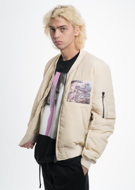 Komakino Bomber JACKET with Cuts and Patches - Cream