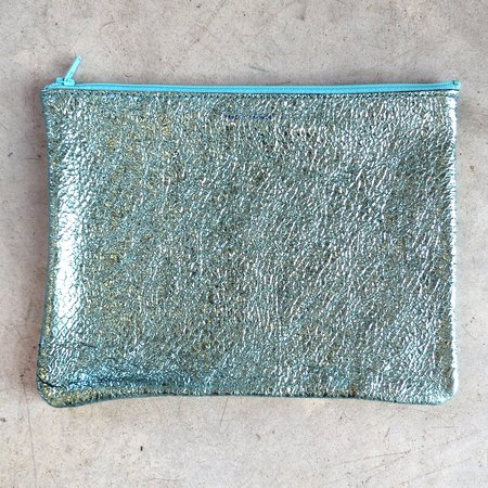 Tracey Tanner Large Flat Zip Pouch in Seafoam Crinkle
