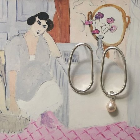 Noon 1 of a kind abstract pearl drop earrings