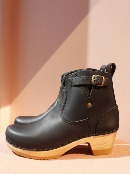 "No.6 5"" Leather Clog Buckle Boot on Mid Heel in Black"