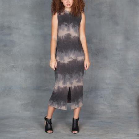 Raquel Allegra Split Muscle Midi Dress Tie Dye Clay