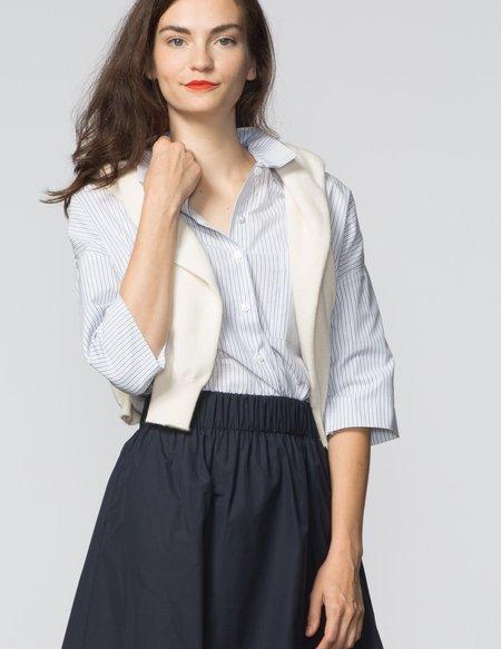 SBJ Austin Stephanie Top - White & Blue Stripe