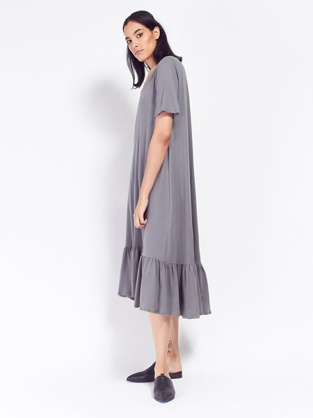 Kowtow Building Block Gather Hem Dress - Dove Grey