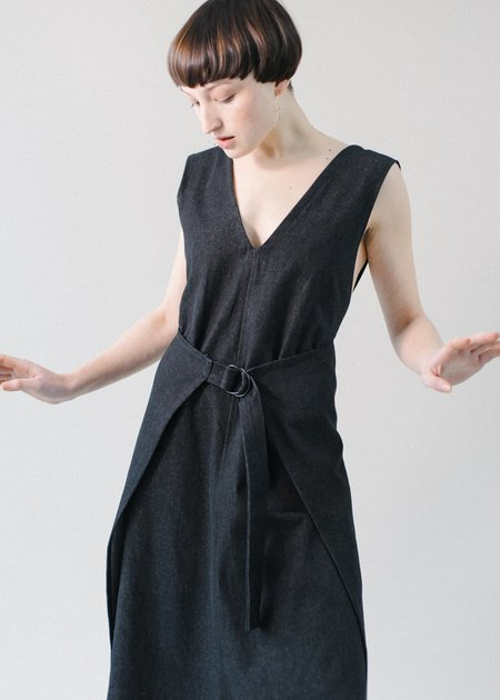 REIFhaus Gloria Apron Dress in Black Denim