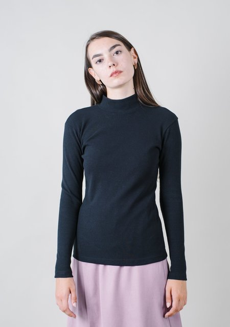 REIFhaus Mock Turtleneck in Black Rib Knit