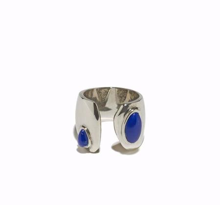 Lizzie Fortunato Arp Ring in Silver and Lapis