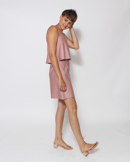 Dusen Dusen Tiered Tank Dress in Rose