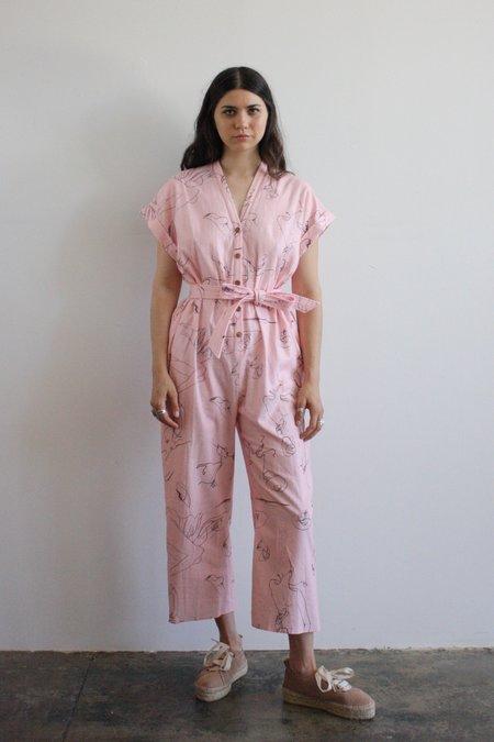 Heinui Aiko Jumpsuit - Pink Scribble