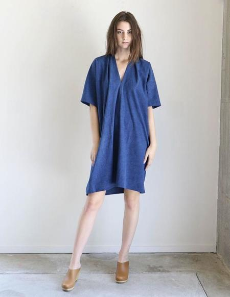 Miranda Bennett Muse Dress In Dark Indigo Silk Noil