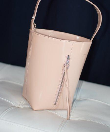 Kara Dusty Pink Box Leather Panel Pail