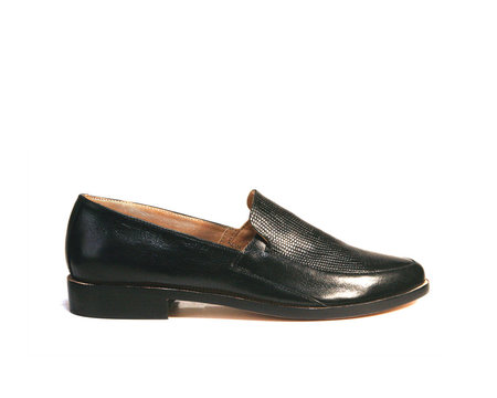ZOU XOU Loafer in Black Embossed Snake/Crust Instant Ship