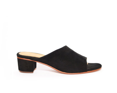 ZOU XOU The Sabine Slide in Black Suede Instant Ship