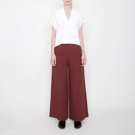 7115 by Szeki Linen Wide-Legged Trouser - Rust