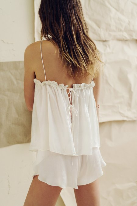 The Great Eros Dia Ruffle Tie Back Camisole in Pearl