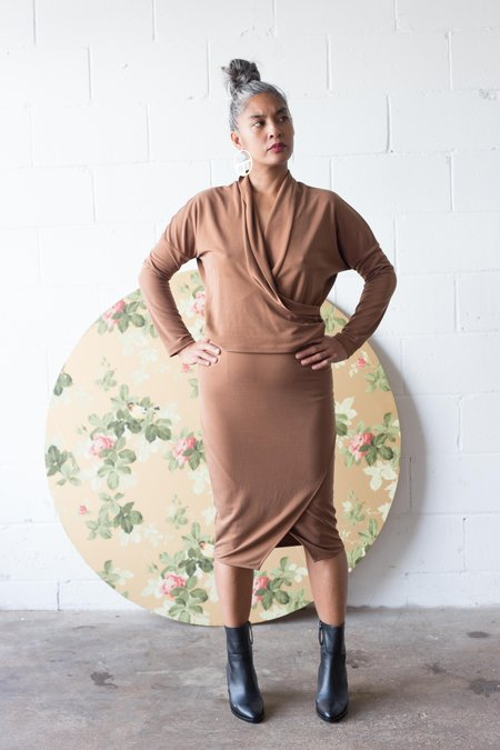 Eve Gravel Mahogany Skirt - Caramel