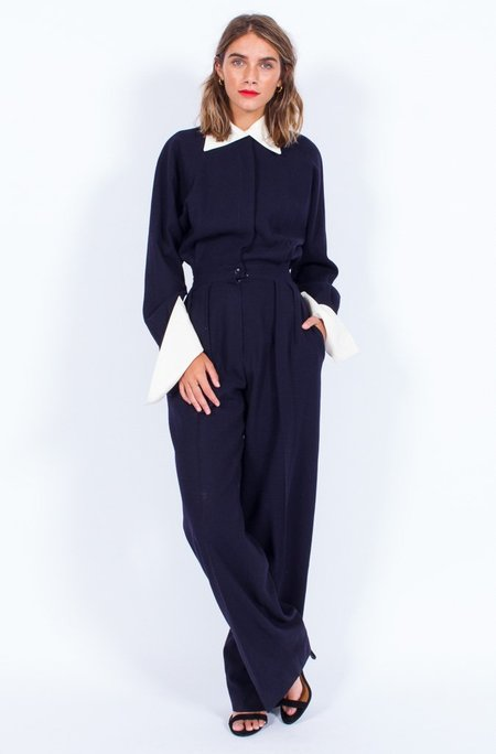 Yo Vintage! Anne Klein Wool Navy Tux Jumpsuit (Small)