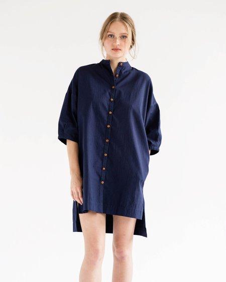 Ilana Kohn Marion Dress in Marine Cotton Twill