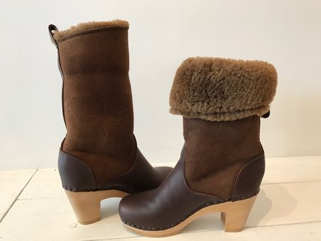 "No.6 9"" Pull on Shearling Clog Boot on High Heel in Molasses/Hazel"