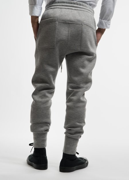 Helmut Lang Heather Grey Curved Leg Track Pant
