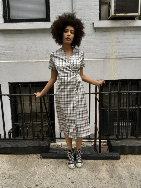 Nikki Chasin Leda Wrap Dress Black and White Plaid