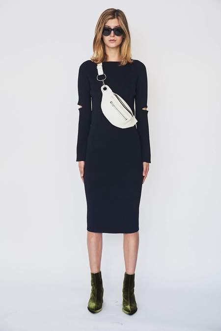 Nomia Ribbed Slit Sleeve Midi Dress