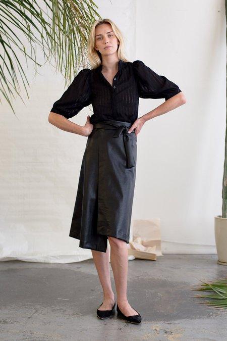 Heidi Merrick Folded Skirt - Black Leather