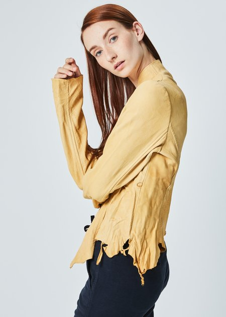 Hazel Brown Raw Hem Leather Jacket