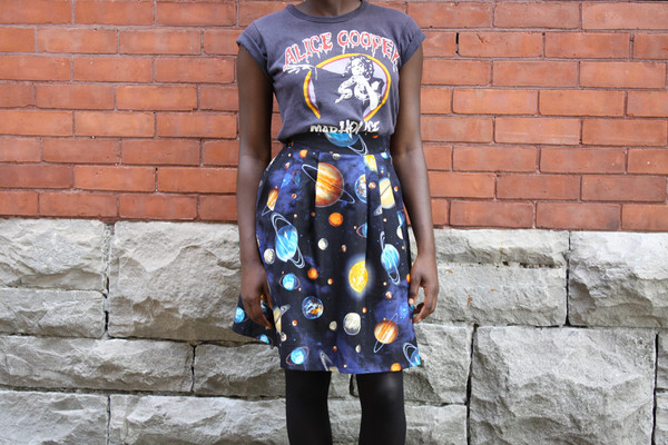 Birds of North America Thistletail Skirt Universe Print
