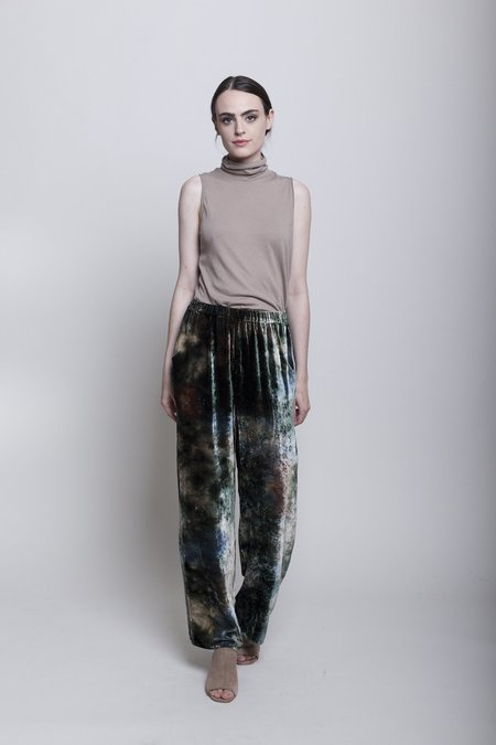 Raquel Allegra High Waisted Trouser - Forest Tie Dye