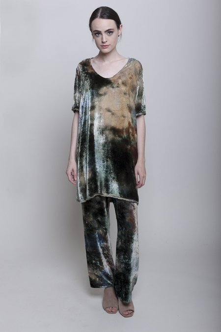 Raquel Allegra Raw Edge Mini Dress - Forest Tie Dye