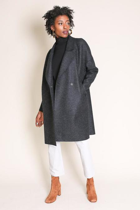 Harris Wharf London Oversize Collar Coat in Anthracite