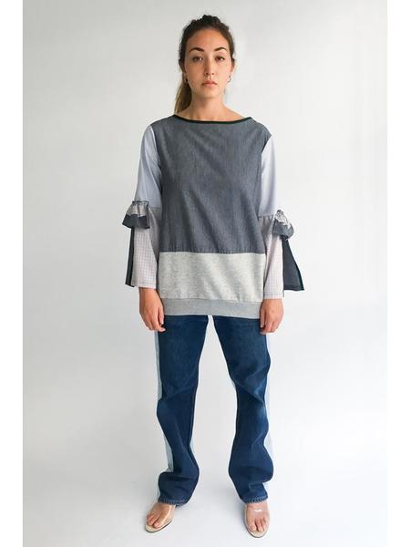 Alexa Stark Open Sleeve Patchwork Shirt