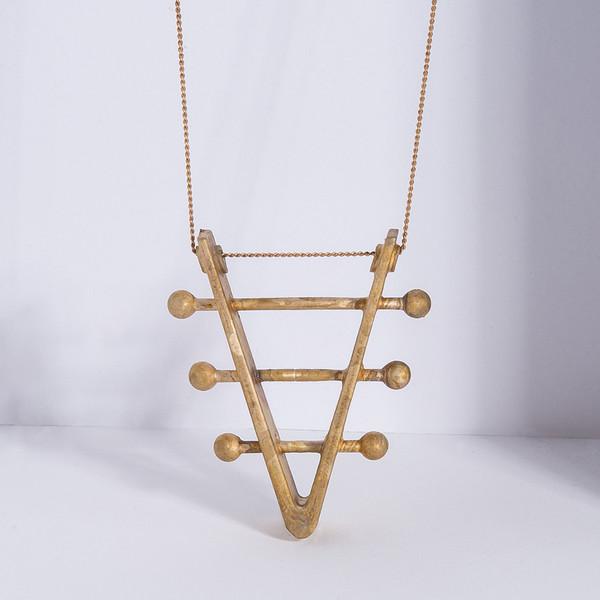 Metalepsis Projects Soundboard Necklace - unfinished bronze