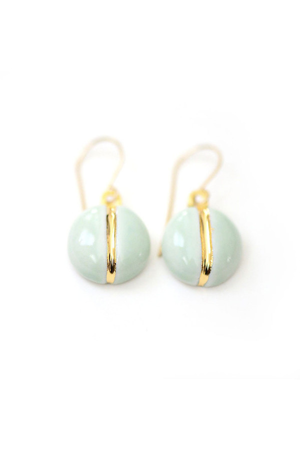 Porcelain and Stone Mint Navigation Earrings