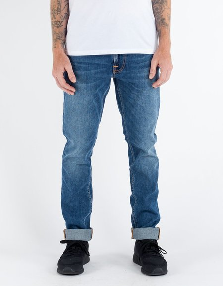 Nudie Lean Dean Shackled and Blue Washed Indigo
