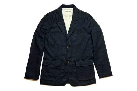 Universal Works Two Button Jacket In Navy Wool Diamond