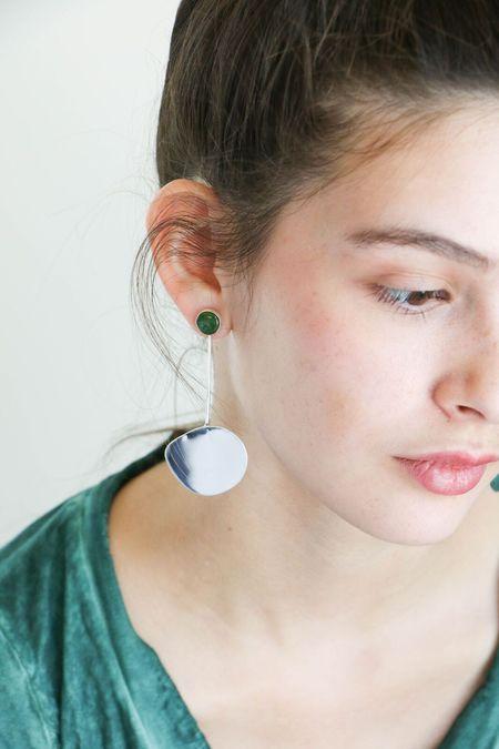 Faris Pendo Drop Earrings Small in Silver