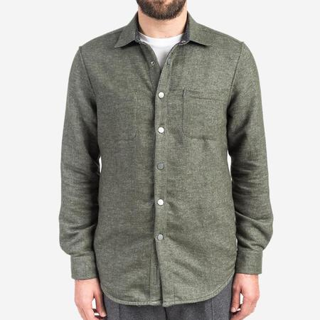 Portuguese Flannel Dupla Reversible Flannel Shirt - Olive Green/Black Melange