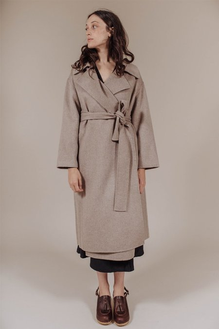 Achro Long Coat in Taupe