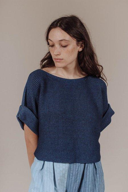 Mara Hoffman Margaret Short Sleeve Sweater in Indigo
