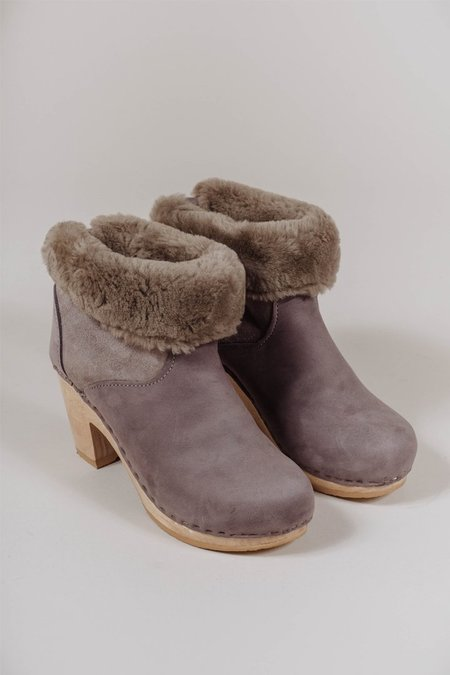 "No.6 5"" Pull On Shearling Boot, High Heel in Smoke Suede"