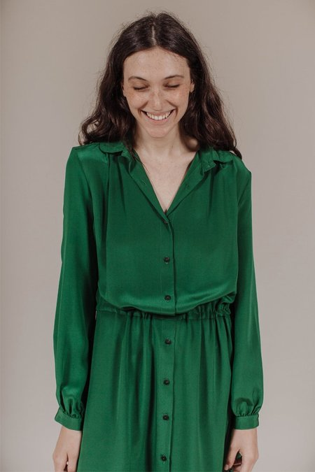 Kamperett Marian Collared Midi Dress in Emerald