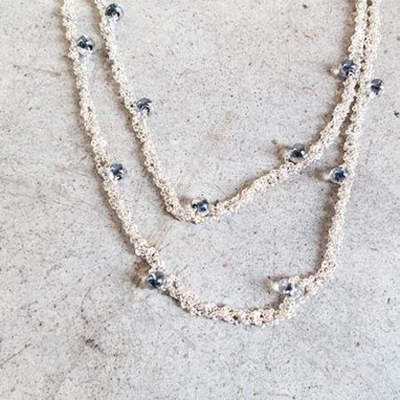 Arielle De Pinto Simple Necklace in Silver with Black Beads