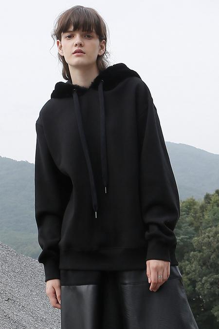 ROC. Fur Hooded Top- Black